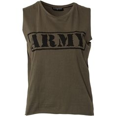 Sally&Circle Price Sheena Army Singlet ($15) ❤ liked on Polyvore featuring tops, shirts, tank tops, t-shirts, blusas, military, womens-fashion, brown tops, tall tops and army tank