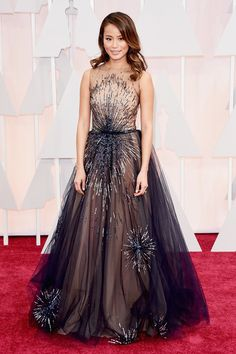 Jamie Chung in Yanina Couture at the 87th Annual Academy Awards, 2015.