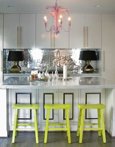 mirror kitchen backsplash | , glam kitchen, chic kitchen, silver mosaic backsplash, mirrored ...