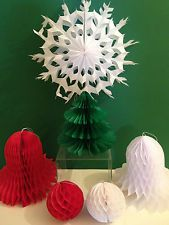 Vintage Look Paper Christmas Hanging Decorations *TREE/BELL/SNOWFLAKE/BALL*