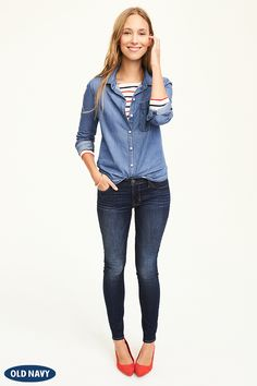 A Chambray shirt should be a staple in every girl's closet. It's not only incredibly versatile but it works for all 4 seasons. Layer your Chambray shirt over a striped tee and pair with your favorite pair of jeans for an easy, casual look. Shop Old Navy's denim collection today to find your next closet staple.