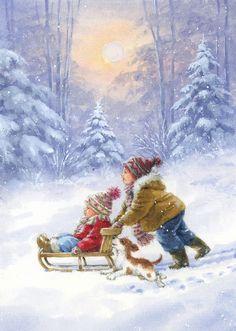 Illustration Mignonne, Illustration Noel, Christmas Illustration, Christmas Scenes, Christmas Snowman, Winter Christmas, Christmas Time, Christmas Artwork, Christmas Card Crafts