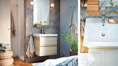 Entspannt aufstehen mit einer Waschgelegenheit im Schlafzimmer, u. a. mit GODMORGON Waschbeckenschrank mit 2 Schubladen Eicheneffekt weiß la...
