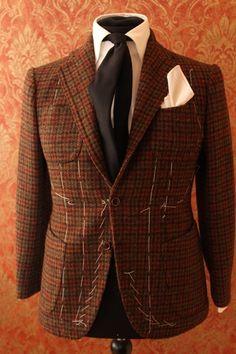 Giacca a quadri in lana colore marrone