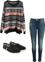 Sweater, jeans, Toms