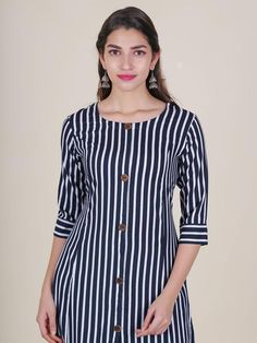 Buy Trendy Striped Kurti with Metal Rimmed Wooden Buttons online in Best Price! New Kurti Designs, Churidar Designs, Kurta Designs Women, Kurti Designs Party Wear, Indian Fashion Dresses, Dress Indian Style, Indian Designer Outfits, Kurti Sleeves Design, Kurta Neck Design