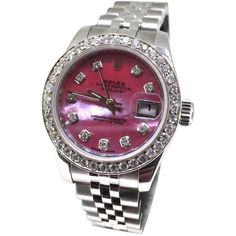 Pre-owned Ladies 26mm Rolex Red Mother Of Pearl Diamond Watch ($5,305) ❤ liked on Polyvore featuring jewelry, watches, accessories, none, preowned watches, rolex, pre owned watches, preowned jewelry and rolex jewelry