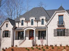 Pine Hall Brick Oyster Pearl Authentic Tumbled Brick Size: Oversize / Engineer White brick with brown body showing through Brick House Colors, White Brick Houses, Aka House, Stucco Homes, Brick Homes, Light Brick, Shingle Colors, French Exterior, Brick Design