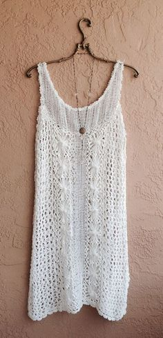 White cotton crochet summer dress for beach boho by Lee Black