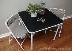 Revamped Mini Folding Table And Chairs What Do You Think Of This Little  Table And Chair Set? Isnu0027t It Adorable In Itu0027s New Black And White Attire?