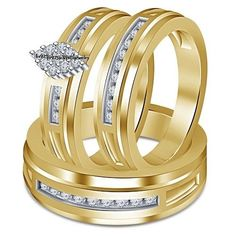 14k Yellow Gold Over Round Cut 2.36 Ct Diamond Engagement Trio Wedding Ring Set #br925silverczjewelry #EngagementWeddingAnniversaryPartyDailyWear