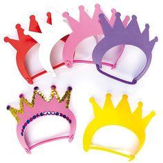 Diadem aus Schaumstoff - Krone - für Kinder zum Basteln und Dekorieren zum Kindergeburtstag und Karneval - 6 Stück