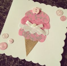 Handmade DIY birthday card. Button, felt & paper craft design to make an ice cream. With a ribbon detail. Pink theme for a little girl. x