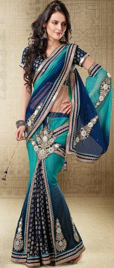 #Blue Lehenga #Style #Saree
