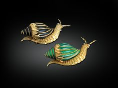 Better to Wear These Creations by David Webb Enamel & 18K Yellow Gold Snail Brooches, Then Have Them in Your Garden.