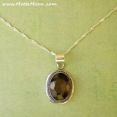 MettaMoon Smokey Quartz Silver Pendant Necklace