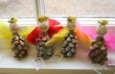 pinecone angels Christmas craft idea for kids