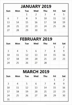 34 Best 100 January And February 2019 Printable Calendar Templates