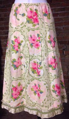 J Jill Linen Skirt Small Pink Green Floral Ribbon Hem #JJill #Pleated