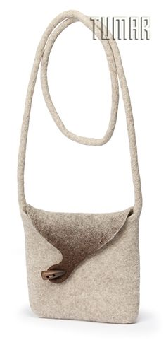 Purse. Felt - 100% wool. Handmade, solid-rolled, ala-qiyiz technique. Wooden button. Color: natural light + dark. Christmas collection 2016. Tumar Art Group.