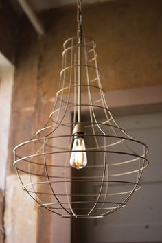 Kalalou Antique Gold Wire Cage Pendant Lamp - Bending antiqued gold wire into a tear drop shaped frame, this minimalist industrial ceiling light by Kalalou will add warmth and character to any room in the home.