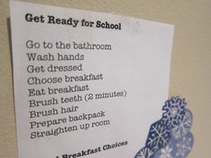 Get Ready for School Checklist - some good tips on morning routine