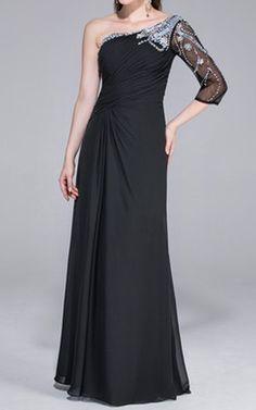 Black A Line Princess One Shoulder Floor Length Chiffon Evening Dress Beading Harry Dress HD25656