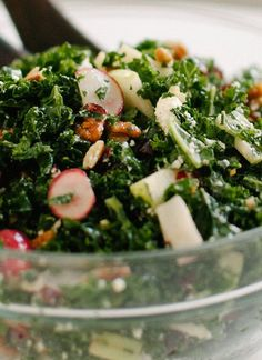 Kale Salad with Apple, Cranberries and Pecans;   also radishes, goat cheese