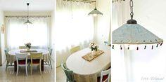 גוף תאורה מקרמיקה תלוי מעל שולחן אוכל  בעיצוב עירית דינור