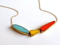In Flight Necklace - blue, yellow, red orange 22k gold, long chain - delicate jewelry by LilahV. $78.00, via Etsy.
