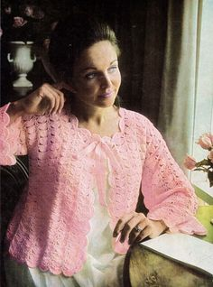 Vintage 60 Shell Stitch Bed Jacket Maternity Nana Hospital 3ply Crochet Pattern