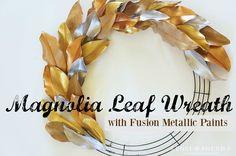 Metallic Painted Leaf Magnolia Wreath