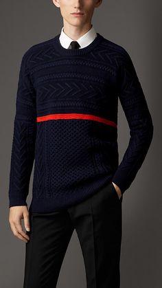 Burberry London Stripe Detail Wool Cashmere Aran Sweater