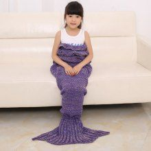 2016 Chic Fish Scale Tail Shape Flouncing Sleeping Bag Mermaid Design Knitting Blanket For Kids