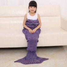 2016 Chic Fish Scale Tail Shape Flouncing Sleeping Bag Mermaid Design Knitting Blanket For Kids