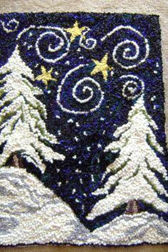 winter hooked rug