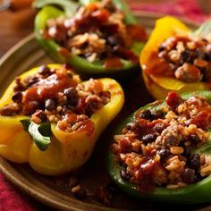 1 Place peppers open sides up on microwavable plate. Cover with plastic wrap. Microwave on High 3 minutes. Set aside.
