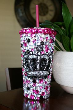 Bling Tumbler w/ Crown by SparkledIntentions on Etsy, $45.00