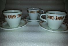 Pyrex Tableware Copper Filigree  Cup and Saucer set of 3 Corning
