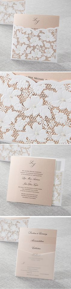 Classy and Elegant wedding invitation from @bwedding || Lasercut pink pocket invite perfect for any wedding from traditional to a backyard garden theme.