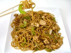 This recipe was a huge hit at my house! I think it might even taste better than the yummy chow mein at Panda Express. One difference from Panda's, I've added chicken to it. Turn it into a vegetarian dish by just leaving the chicken out (see