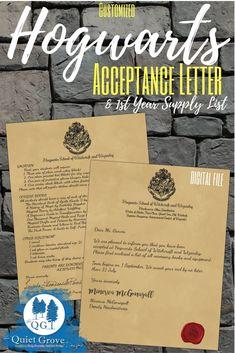 Harry Potter Acceptance Letter (Digital Download)