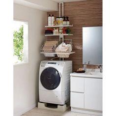 見た目スッキリ、組立簡単、狭い洗濯機置き場を有効に活用できる収納ラック。1本支柱なので様々な種類の防水パンに簡単に設置できます。圧迫感を出さずに洗面所や洗濯機まわりの収納を増やせます。 Studio Apartment, Bedroom Apartment, Laundry Room Bathroom, Laundry Rooms, Bathrooms, Student House, Paint Colors For Living Room, Small House Design, Ikea Pax
