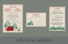 Printable Camping Themed Wedding Invitation, RSVP Card, and Reception/Info Card