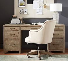 A productive space starts with beautiful, functional furniture. The Parker Desk is crafted with reclaimed wood; Large Drawers, Desk With Drawers, Herman Miller, Reclaimed Wood Desk, Sit Stand Desk, Room Planner, Desk Set, Big Desk, Affordable Furniture