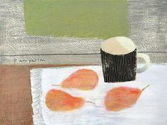 Eva's Delicious Rosy Pears by Elaine Pamphilon | Mixed media on wooden panel | 30 x 40 cm #elainepamphilon #tannerandlawson #stilllife