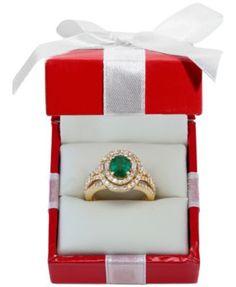 EFFY Emerald (1-1/7 ct. t.w.) and Diamond (1-1/7 ct. t.w.) Ring in 14k Gold   macys.com