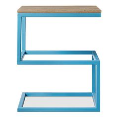 Swoon Editions Sullivan Side Table, Sky Blue (220 CAD) ❤ liked on Polyvore featuring home, furniture, tables, accent tables, blue, blue side table, blue furniture, blue table, industrial furniture and blue end table