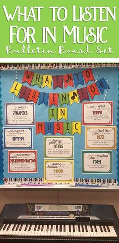 to Listen for in Music Bulletin Board Set My all time favorite music bulletin board. What to Listen for in Music classroom decor set!My all time favorite music bulletin board. What to Listen for in Music classroom decor set! Middle School Choir, Music School, Tempo Music, Music Education Activities, Education Quotes, Art Education, Listening Activities, Choir Room, Elementary Music Lessons