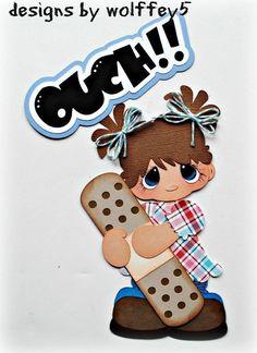 ELITE4U GIRL OUCH  paper piecing premade scrapbook page die cut album WOLFFEY5